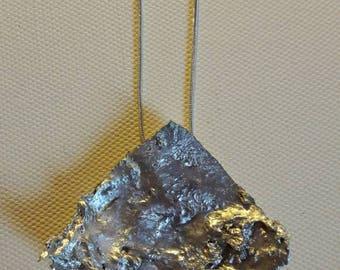Large silver pendant. Silver geometric pendant necklace. Textured silver. Organic pendant necklace. Nickle free, silver aluminium pendant.