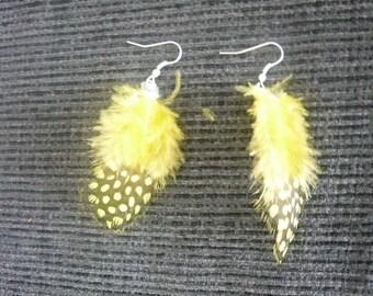 Boucles d'oreille plumes (jaune)