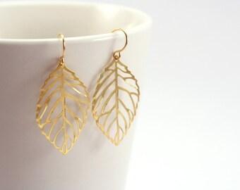 Large Gold Leaf Earrings, Yellow Gold Earrings, Gold Dangling Earrings, Golden Woodland Goddess Boho Jewelry, Gold Dangling Earings
