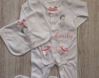 Cute vintage cherub baby girl gift set( inclues a sleepsuit, bib and scratch mitts) 0-3 or 3-6 months