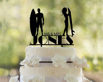 Surfers wedding Cake Topper- Custom Cake Topper- Beach Wedding Cake Topper- Silhouette surfers Cake Topper- Personalized surfers cake topper