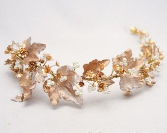 Gold Bohemian Rustic Wedding Wreath bridal Crown Headpiece of Golden Babies Breath and Gold Leaves Flower Crown Leaf Headband Boho Wedding