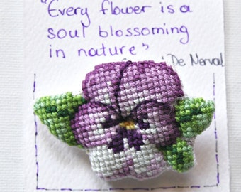 Pansy Flower 3D cross stitch brooch. Hand embroidered jewelry. Gift for nature lovers. Cross stitch. Anniversary gift. Mothers day gift