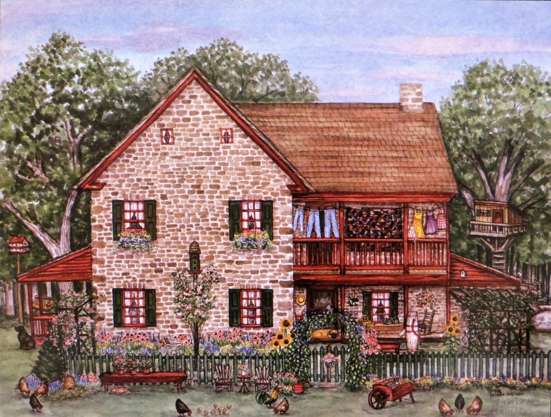 Farmhouse Decor Watercolor Print Stone House Country Home