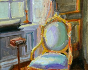 Art Print of CHAISE FRANÇAISE, French interior, green and gold, beautiful sitting room