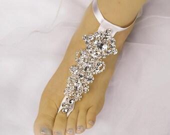 Wedding Barefoot Sandals, Rhinestone Foot Jewelry,ROSE GOLD Foot Jewelry, Beach Wedding Barefoot Sandals-SD002