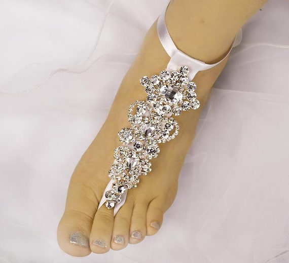 Wedding Barefoot Sandals Rhinestone Foot JewelryROSE GOLD