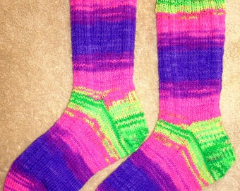 Hand Knit Womens or Mens Wool Socks - Regia Fluorescent Neon wool sock yarn (S-139)