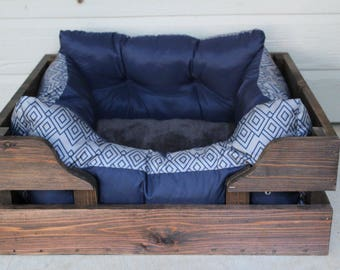 EXTRA LARGE Rustic cedar dog bed wooden pet crate bed frame