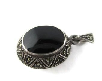 Vintage Onyx  925 Sterling Silver & Marcasite Locket Pendant