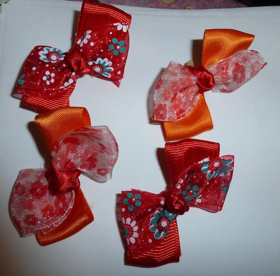 Puppy Bows ~ 4 red/orange floral pet hair bow latex band ~Usa seller (fb92)
