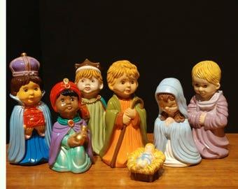 Vintage Ceramic Nativity Set of 7 Christmas Figurines Mary Joseph Baby Jesus Shepherd and Wise Men 3 Kings