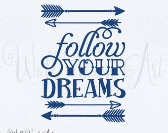 Follow your Dreams arrow subway Vinyl Decal- Wall Art, Wall decor, boys, girls bedroom, Aztec, Boho,Wall VInyl Art, Inspirational Wall Art