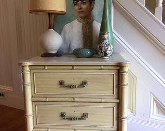 FAUX BAMBOO NIGHTSTAND Midcentury c1970s Henry Link Bali Hai Yellow Paint Vintage Chinoiserie Asian Style Palm Beach