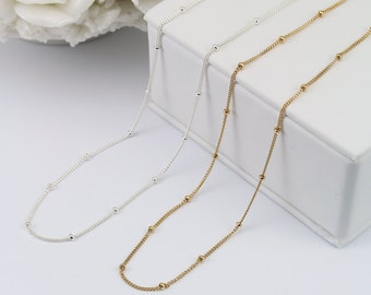 Floating Bead Necklace, Satellite Chain Necklace, Perfect Layering Necklace, Dew Drops Necklace, 14K Gold Filled Chain, Delicate chain,LC353