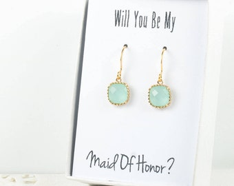 Mint Gold Earrings, Square Gold Green Earrings, Green Wedding Jewelry, Bridesmaid Gift, Bridesmaid Earrings, Green Bridal Accessories