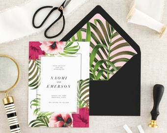 Tropical Save the Date Wedding - Destination Wedding Save the Date Card - Floral Save the Date Printed - Modern Save the Date - Set of 10