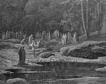 Late Repenters Sing Miserere Purgatorio Canto 5 Purgatory Limbo Vintage Engraving Gustave Dore Black & White