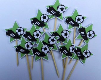 12 Soccer Cupcake toppers