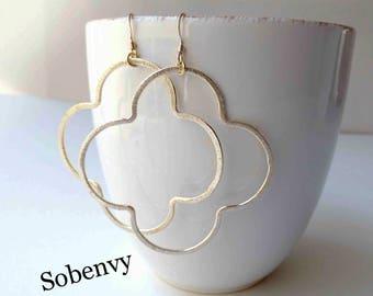 Gold & Silver Drop Earrings, Quatrefoil Earrings, Clover Earrings, Gold 14 kt gold filled ear wire, Drop Earrings, Boho Earrings