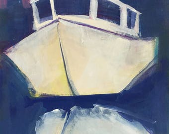 My Maria - original 12x6 inches unframed acrylic painting of a Chesapeake Bay deadrise working boat in harbor by Maryland artist Barb Mowery