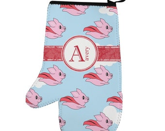 Flying Pigs Left Oven Mitt (Personalized)