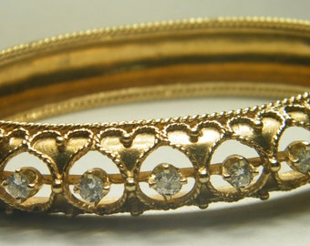 Vintage 14kt yellow gold diamond bangle bracelet