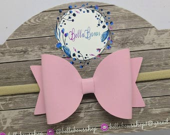 """Light Pink Faux Leather Hair Bow-Alligator Clip-Baby Headband-Photo Prop-Faux Leather-Toddler hair bow-3.5"""" hair bowGlitter Hair Bow"""