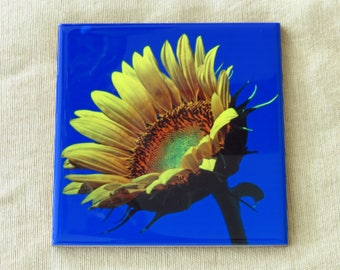 "4""x4"" Ceramic Coaster Sunflower Blue Sky and Moon"