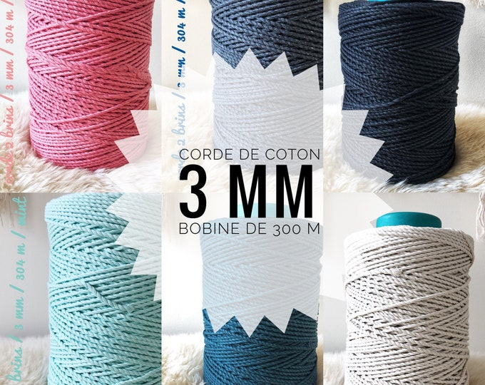 1000 FEET ( 304 meters) of 3 mm dyed 100 % cotton/ 2-ply twisted  rope / macrame rope / twisted cotton/ 3 mm rope