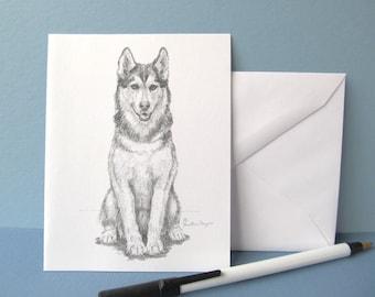 Huskie note cards w/envelopes, set of 6, original art by me