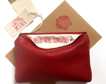 Red Makeup Bag. Hello There Gorgeous. Gift for Her Under 50. Vegan Leather