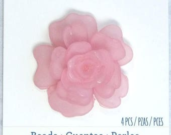 Pink Rose Pendant Rose Lucite Pendant Large Flower Pendant Pink Lucite Pendant