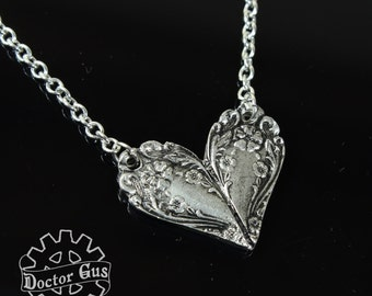Spoon Heart Necklace - Inspired by Antique Victorian Silverware - Doctorgus Handmade Pewter Jewelry Creations - Boho Style Heart Necklace