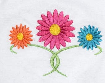 Instant Download: Cute 3 Daisies, Gerbera, Shasta, Gerber Daisy Machine Embroidery Design 4 Sizes