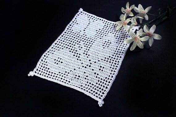 Crochet Doily, Rectangle, Mini Doily, White, Butterfly, Small, Crochet Mat, Crochet Lace