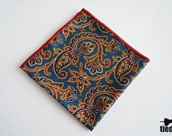 Vintage Handmade pocket square, Blue pocket square for men, Wedding pocket square,Men's handkerchief