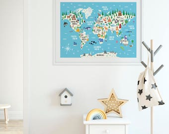 World map print etsy animal world map print kids world map poster nursery world map large world gumiabroncs Gallery