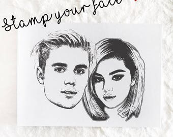 Custom couple portrait stamp, Custom wedding face stamp,stamp your face