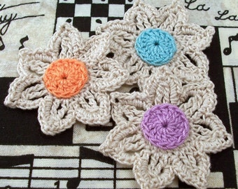 Crocheted Flowers Natural - Set of 3