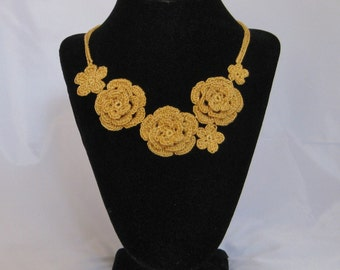 Gold Crocheted Irish Rose Necklace