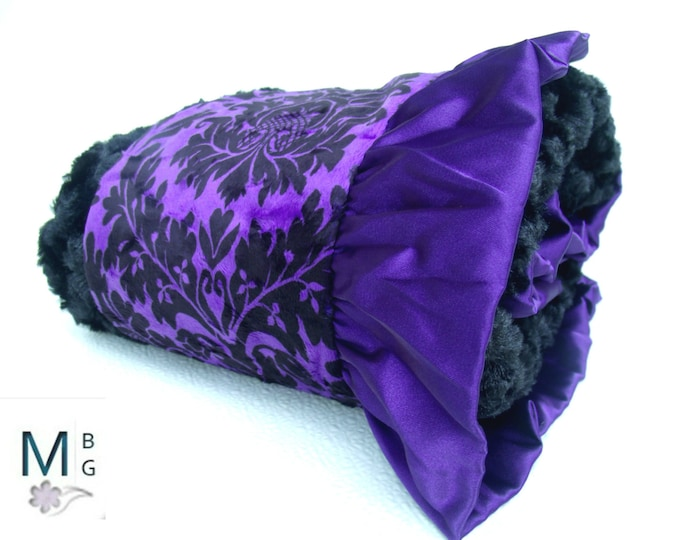 Purple and Black Gray Damask Minky Baby Blanket, available in three sizes