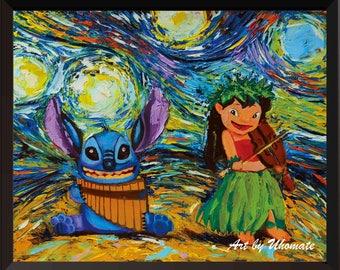 Vincent Van Gogh Starry Night Posters Lilo and Stitch Ohana Stitch Tattoo Inspired Canvas Wall Art Nursery Decor Wall Decor Room Decor A008