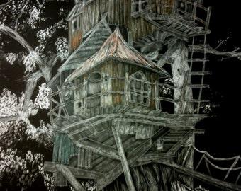 Fairy House Artwork, Whimsical house - Scratchboard Artist Print