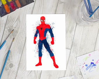 Marvel Inspired Spider-Man Watercolour Print | A5 & A6 Sizes