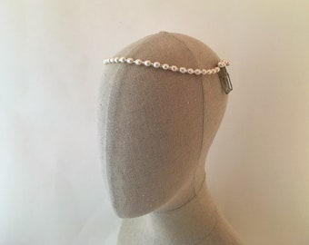 Freshwater Pearl Wedding Headpiece, 1920's Ivory Pearl Headband, Bridal Pearl Headpiece, Ivory Wedding Headpiece, Pearl Headband
