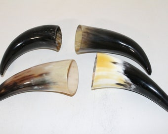 4 Cow horn tips  ....  e4a85  ... Natural colored, polished cow horns.,..
