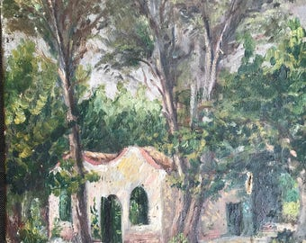Antique french oil painting house in the forest original signed dated 1940s
