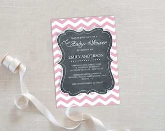 Baby Shower Invitation Template | Editable Invitation Printable | Baby Shower Invite Chevron Pink | No. PY 2042 Pink