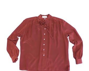 Escada Silk Blouse with Mandarin Collar and Cuff Sleeves size 44 (DE)